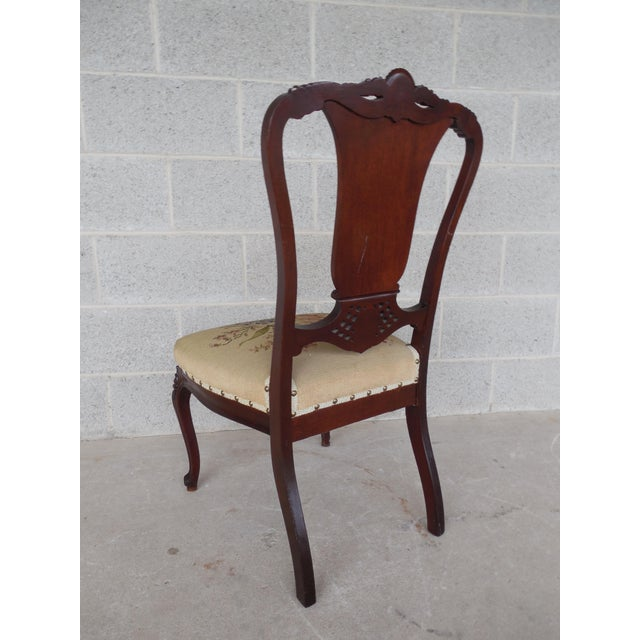 Brown Vintage French Louis XV Style Carved Mother of Pearl Inlay Vanity Chair For Sale - Image 8 of 10