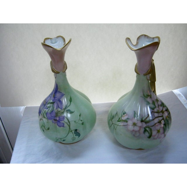 Antique Hand Painted Unsigned Limoges Ewers - A Pair - Image 4 of 8