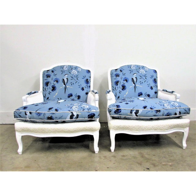 French Bergère Armchairs in White Lacquer and Designers Guild Jacaranda - a Pair For Sale - Image 11 of 11
