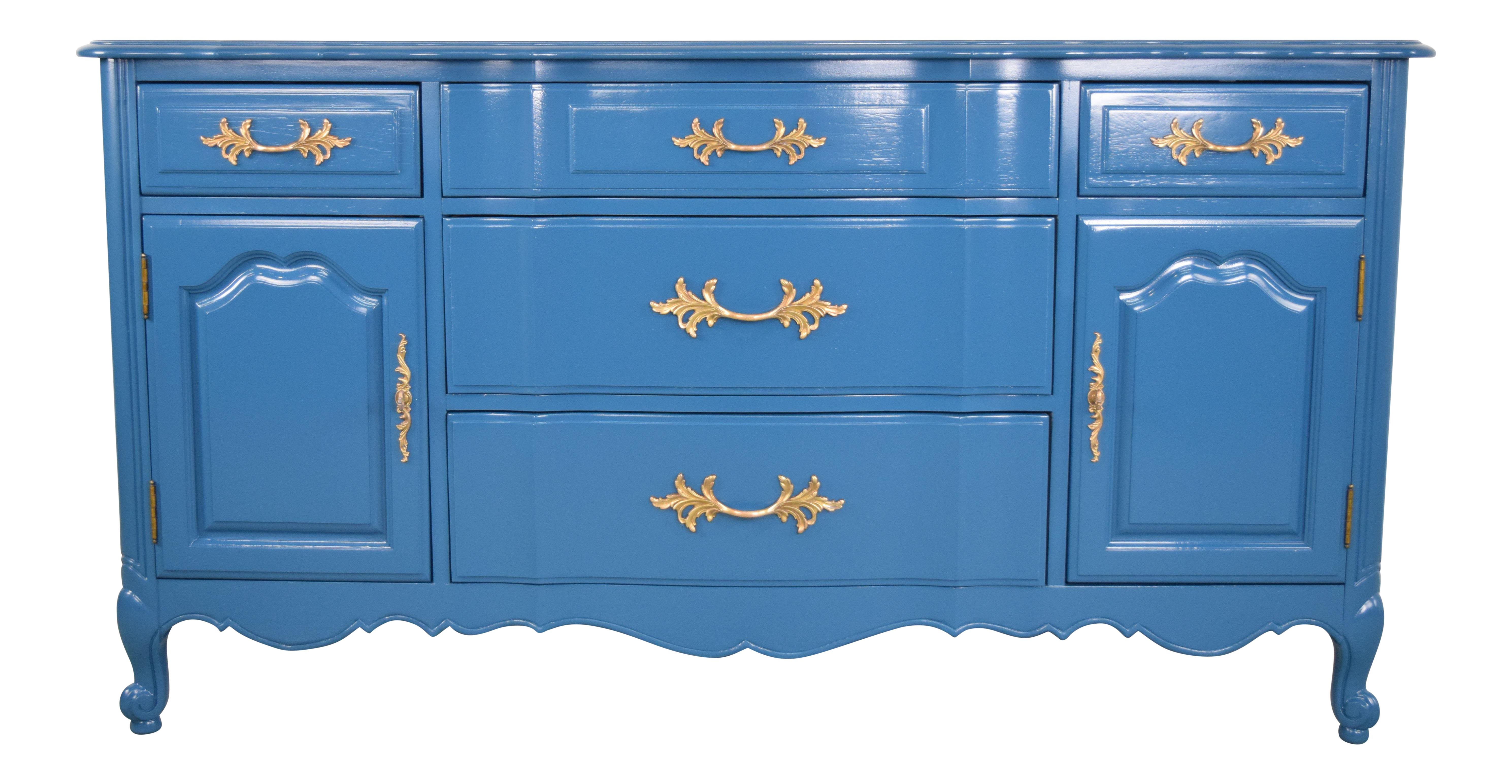 Etonnant 19th Century French Provincial Thomasville Blue Sideboard For Sale