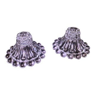 Vintage Berwick Burple Boopie Anchor Hocking Clear Depression Glass Candle Holders - A Pair For Sale