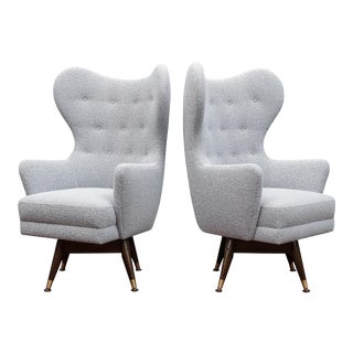 Pair of Midcentury Swivel Lounge Chairs For Sale
