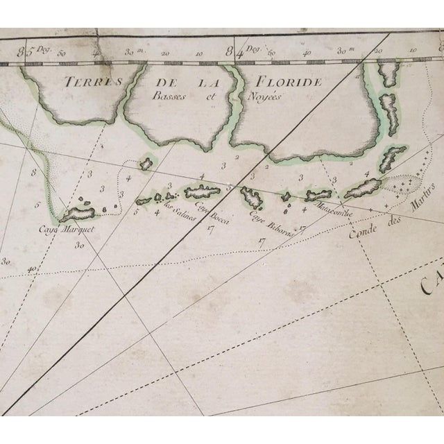 1762 Depot Des Cartes Carte Reduite De l'Isle De Cube Map of Cuba Hydrographical For Sale - Image 4 of 13