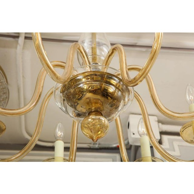 Amber Eight-Arm Murano Glass Chandelier For Sale In New York - Image 6 of 8