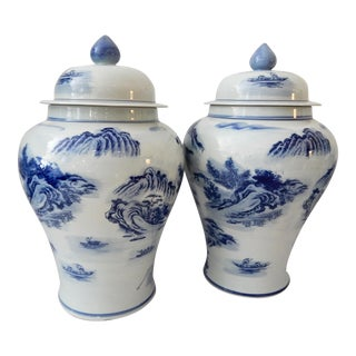 Landscape Blue & White Porcelain Ginger Jars - A Pair