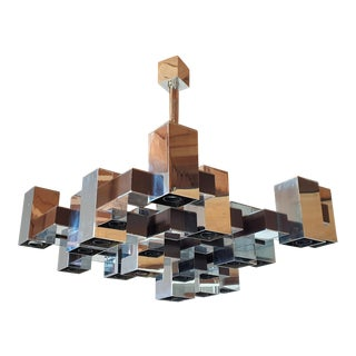 Large Square Chrome 12 Lights Mid Century Modern Chandelier, by Sciolari 1960s For Sale