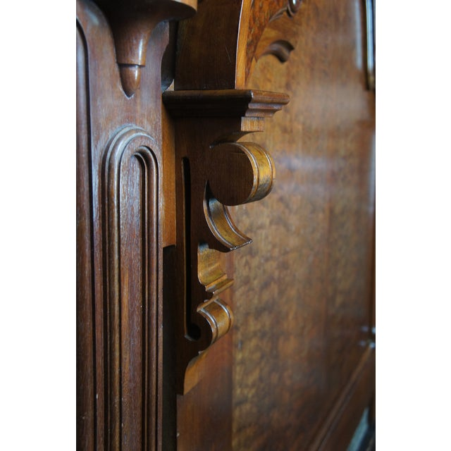Antique Victorian Carved Walnut Highback Full Bedframe For Sale - Image 9 of 13