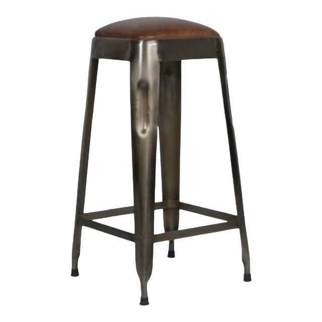 Industrial Style /Ironworks Barstool With Leather Top W/ Number For Sale