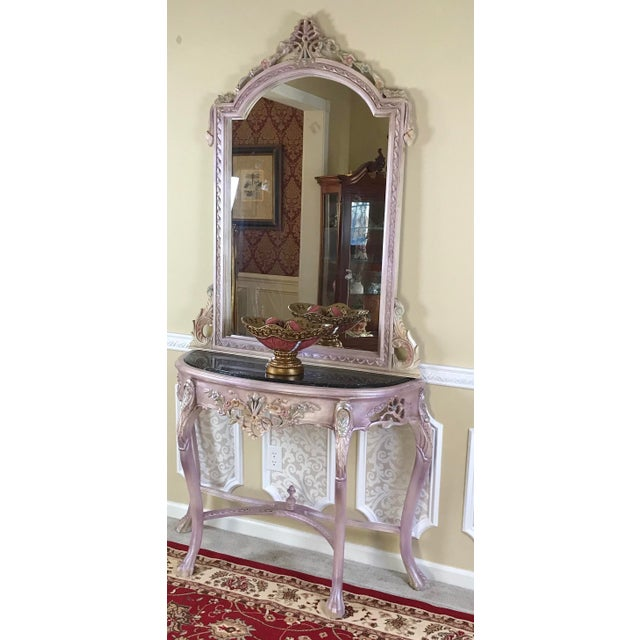 2010s Louis XV Beech Wood Console Table & Mirror For Sale - Image 5 of 8