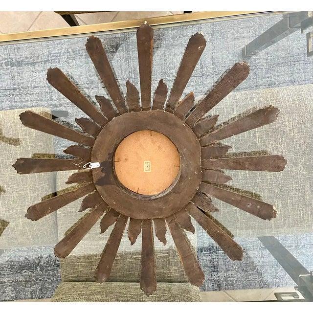 1950s Large Italian Convex Sunburst Giltwood Wall Mirror For Sale - Image 11 of 12