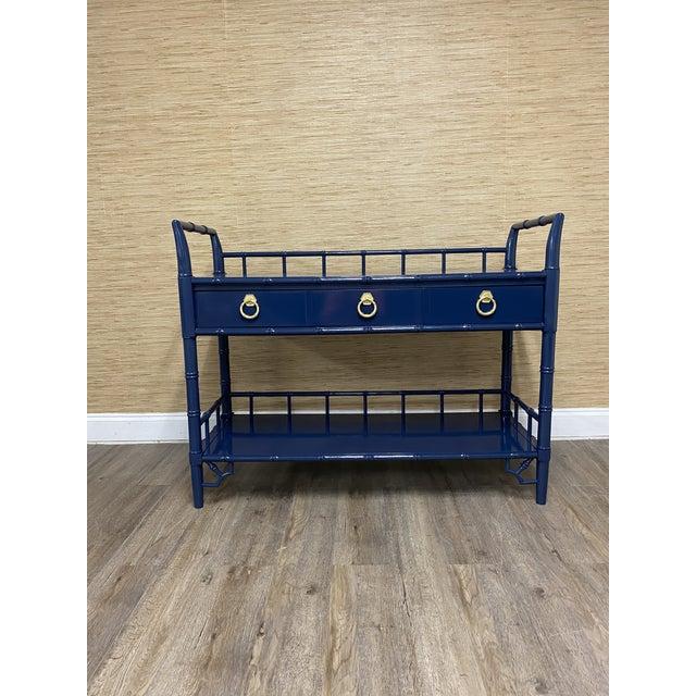 Navy Blue Vintage Thomasville Allegro Faux Bamboo Bar Cart Server For Sale - Image 8 of 8