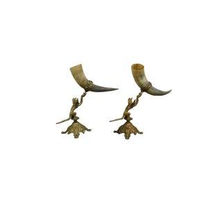 Antique Bronze Dragon Sculpture With Horn Vases For Sale