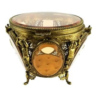 Antique Ormolu Gold Filigree Casket Jewelry Trinket Box For Sale