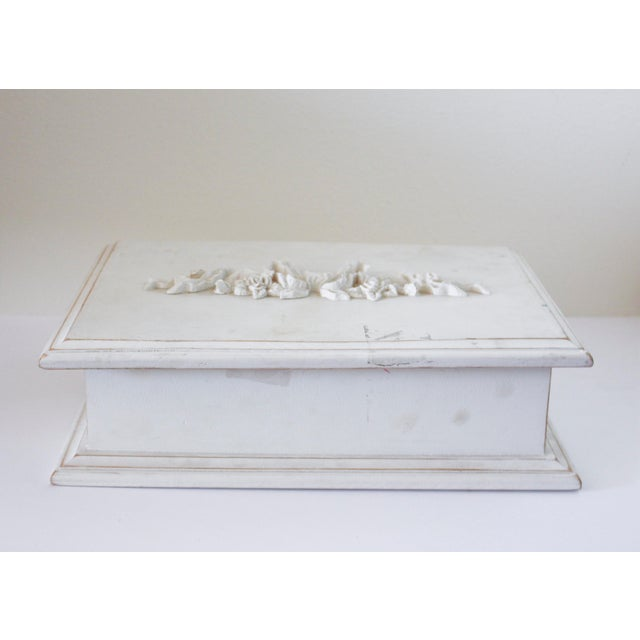 Vintage White Wooden Box With Bow Detaililng For Sale - Image 5 of 5