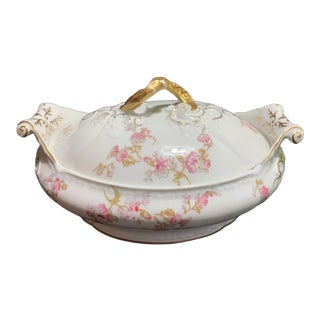 Antique French Limoges Pink and Lavender Flowers Oval Serving Dish With Lid by Elite Works For Sale