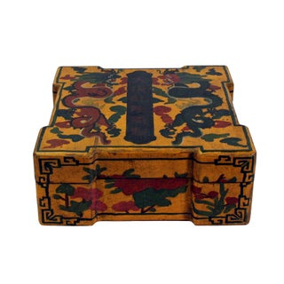 Chinese Distressed Yellow Lacquer Chinoiserie Color Square Painting Box Preview
