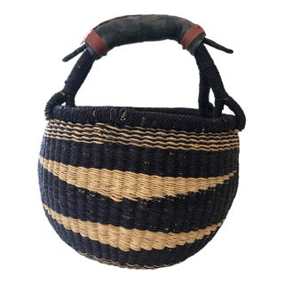 Tribal Small Blue Striped Basket For Sale