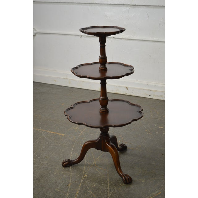 Brown Vintage Mahogany Chippendale Style Claw Foot 3 Tier Dumbwaiter Table For Sale - Image 8 of 11
