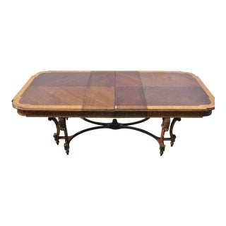 Early 20th Century French Baroque Style Banded and Inlaid Walnut Dining Room Table For Sale