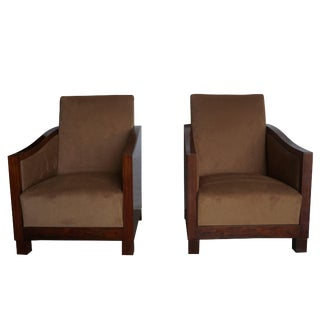 20th Century French Art Deco Light Brown Velvet Club Chairs - a Pair For Sale