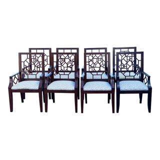 Hollywood Regency Fretwork Chairs - Set of 8 For Sale