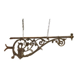 Large 19th Century Painted Iron Sign Holder from Bordeaux France For Sale