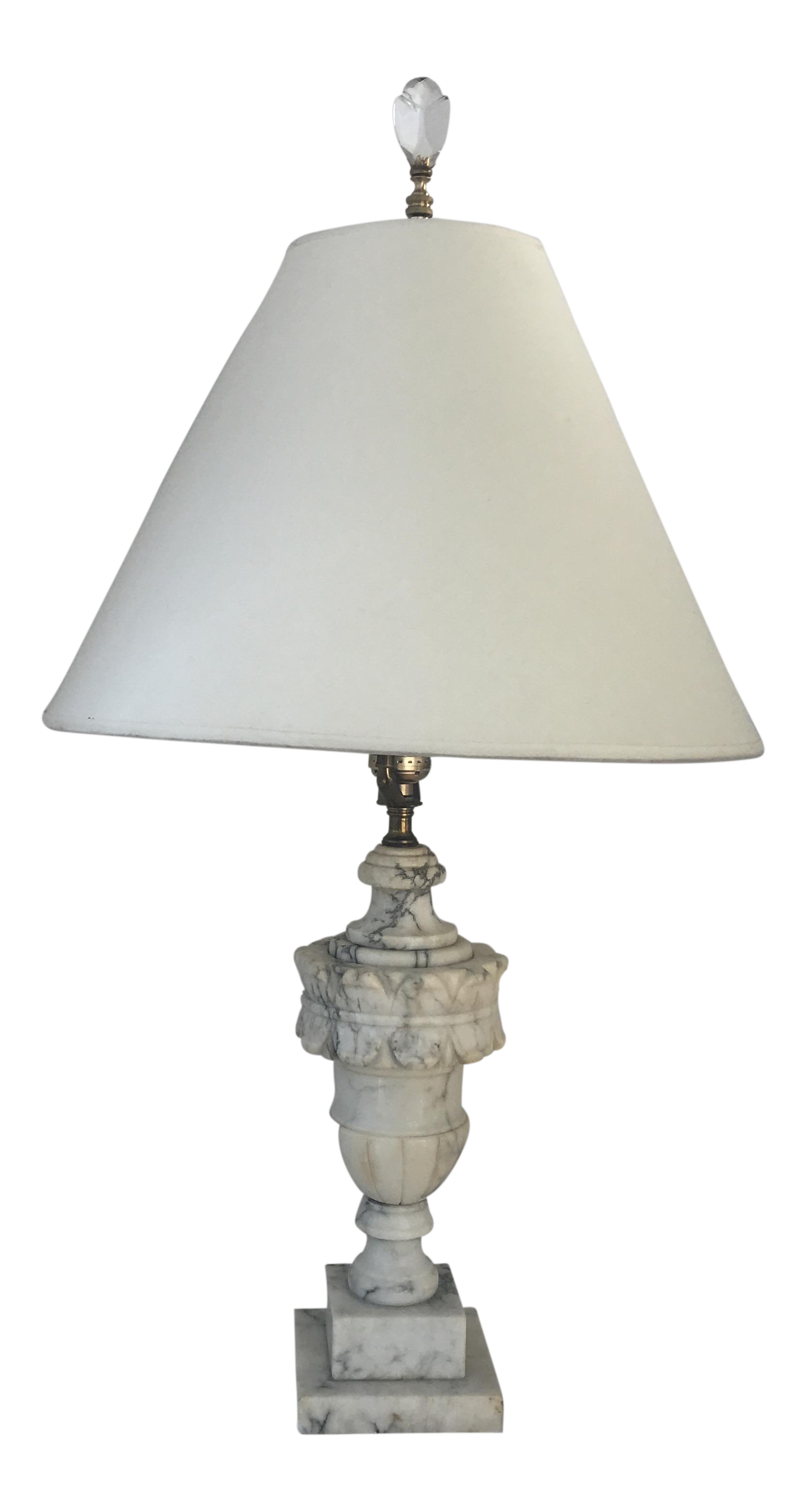 Antique Carved Marble Table Lamp   Image 1 Of 8