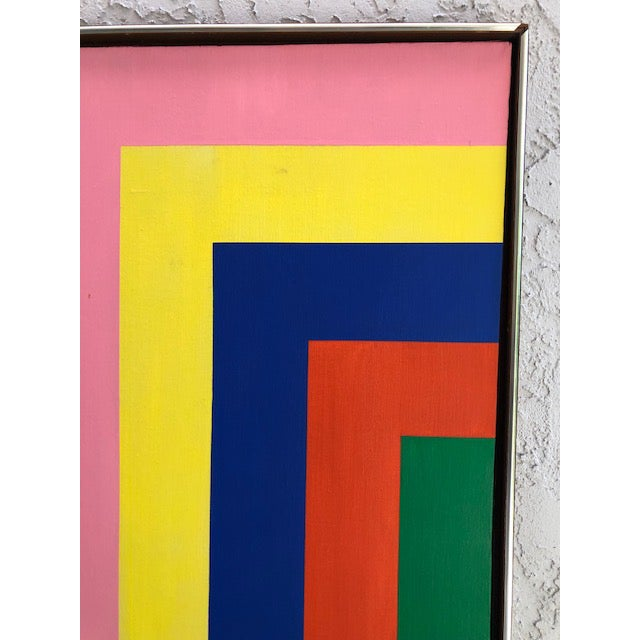 Contemporary 1970s Vintage Large Opt Art Painting For Sale - Image 3 of 9