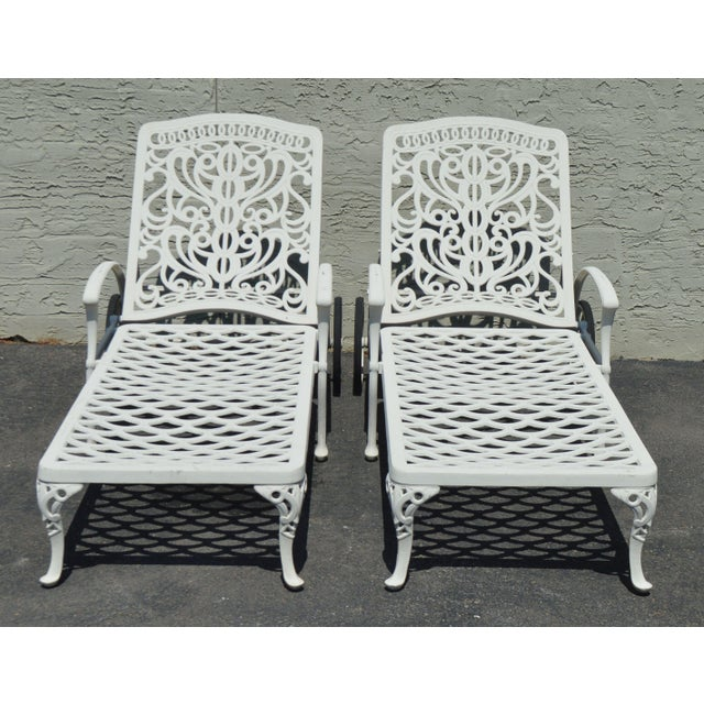 Traditional Quality Pair Cast Aluminum Patio Chaise Lounges For Sale - Image 3 of 13