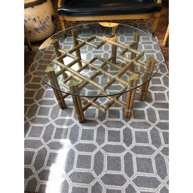 1990s Boho Chic McGuire Round Rattan Coffee Table With Glass Top For Sale - Image 11 of 11