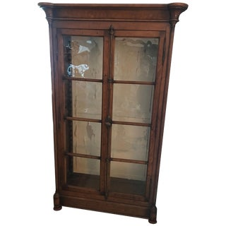 Antique Armoire or Shelving Unit With Rolled Glass Door Panels For Sale