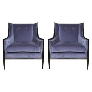 Mid-Century Modern Ebonized Armchairs - a Pair For Sale
