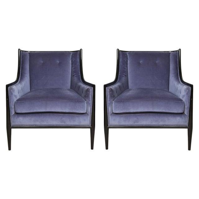 Mid-Century Modern Ebonized Armchairs - a Pair For Sale