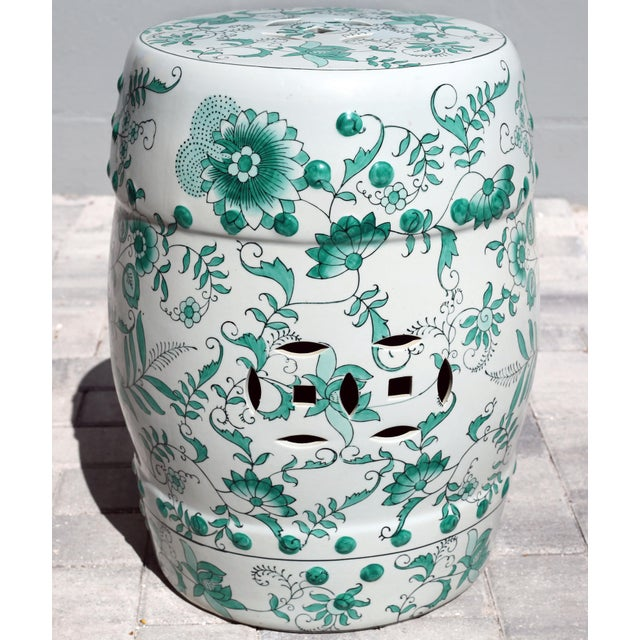1980s Green and White Garden Stool Table With Hand-Painted Flowers and Vines For Sale - Image 5 of 12