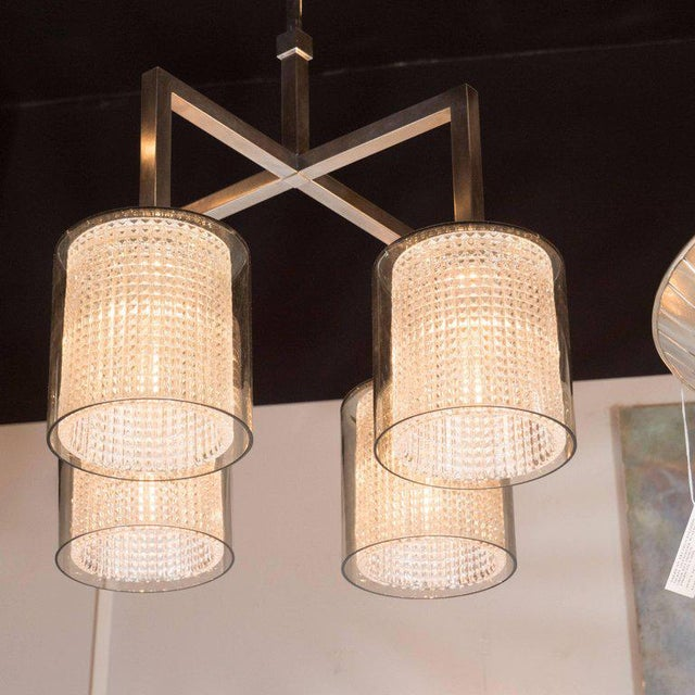 1960s Scandinavian Mid-Century Modern Four-Arm Chandelier, Carl Fagerlund for Orrefors For Sale - Image 5 of 11