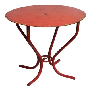 Vintage Red French Bistro Table For Sale