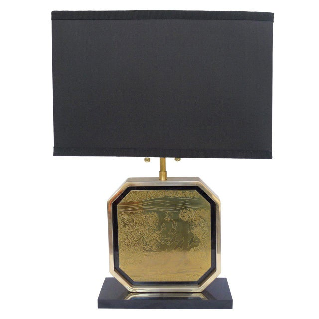 Etched Brass Table Lamp by George Mathias For Sale In San Francisco - Image 6 of 6