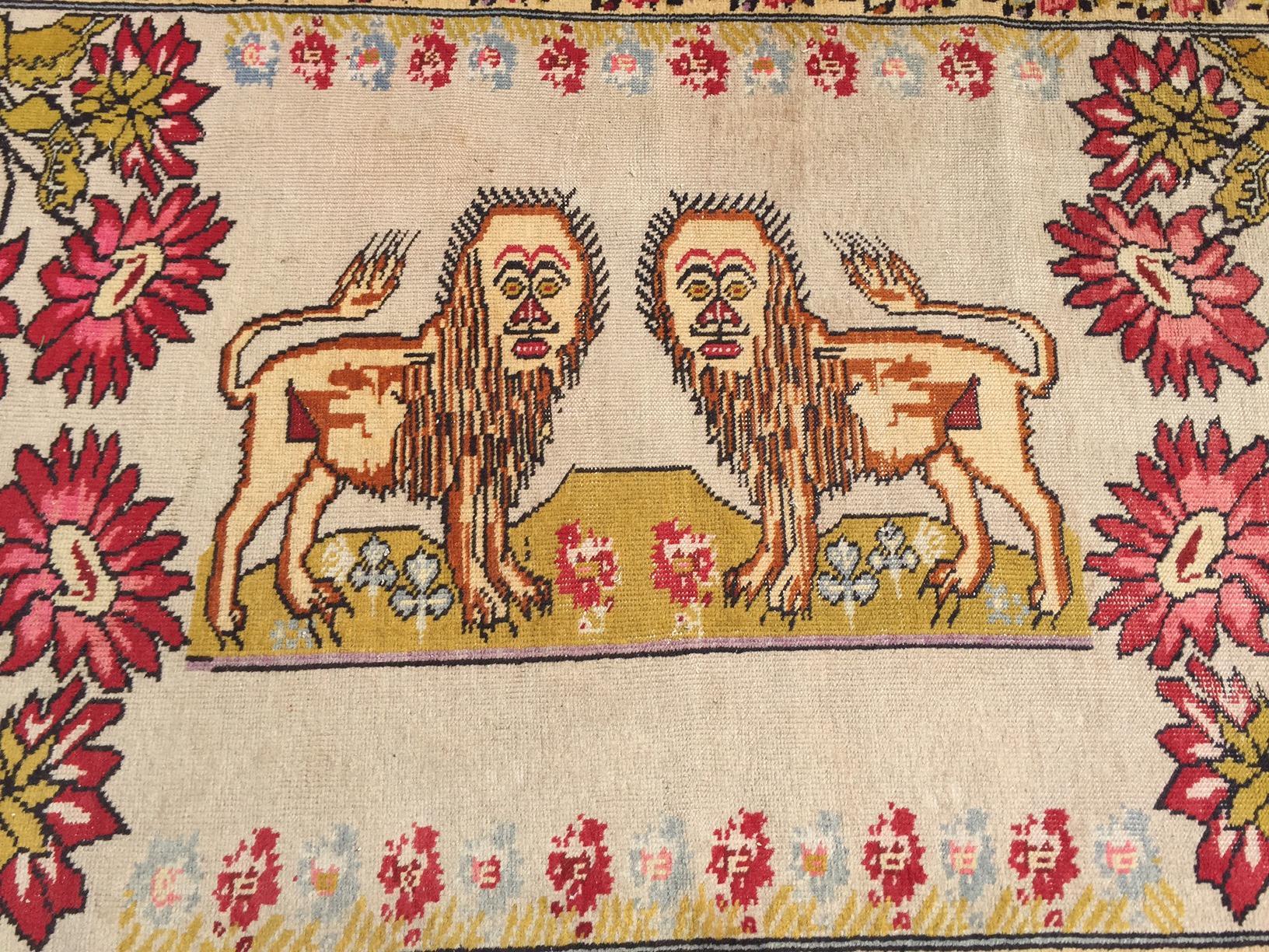 Vintage Turkish Rug Double Lion Tibetan Style Wool Rug 47 79