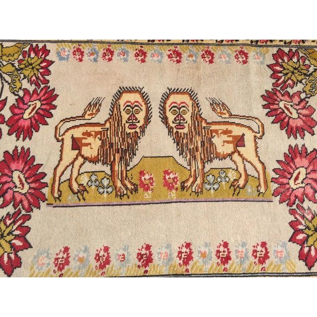 Asian Vintage Turkish Rug Double Lion Tibetan Style Wool Rug - 4′7″ × 7′9″ For Sale - Image 3 of 10