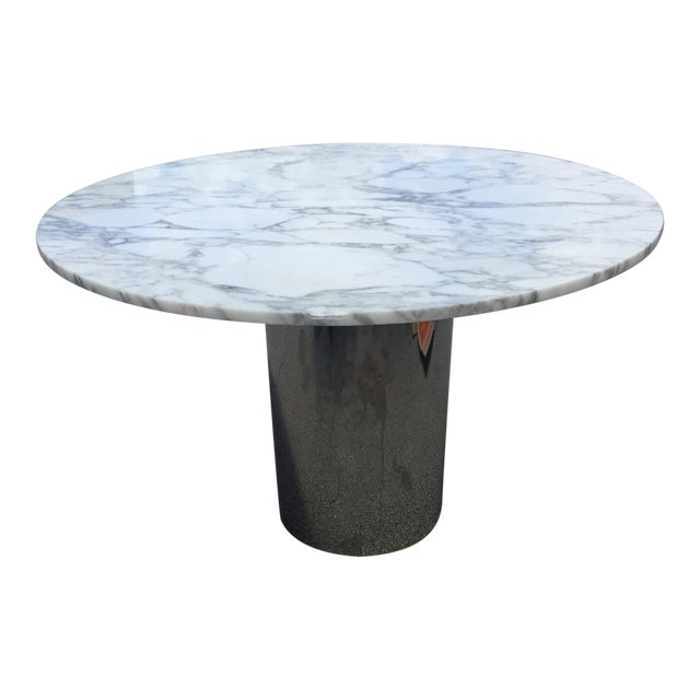 1960s Mid-Century Modern Marble and Chrome Dining Table For Sale