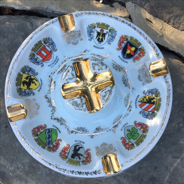 Vintage Ansbach German Crest Gold Ash Tray - Image 4 of 7