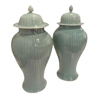 Mint Green Celedon Faux Bamboo Pattern Ginger Jars - a Pair For Sale