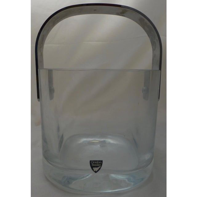 Transparent Orrefors Mid-Century Modern Glass & Chrome Ice Bucket For Sale - Image 8 of 10