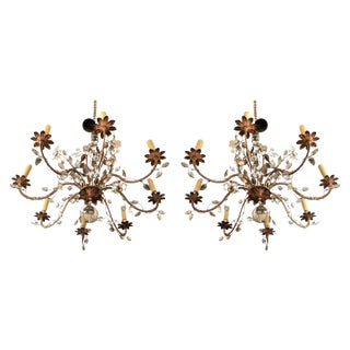French Art Deco Crystal Chandeliers - a Pair For Sale