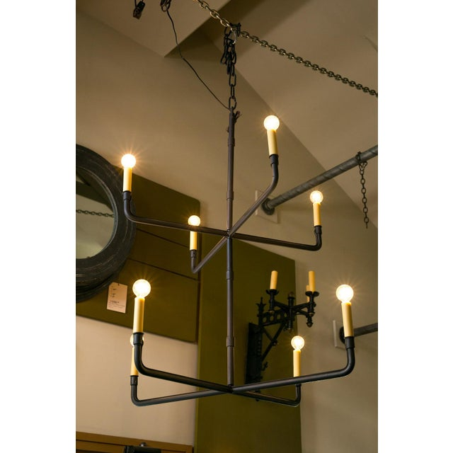 Two-Tier Hand-Made Iron Chandelier For Sale In Houston - Image 6 of 6