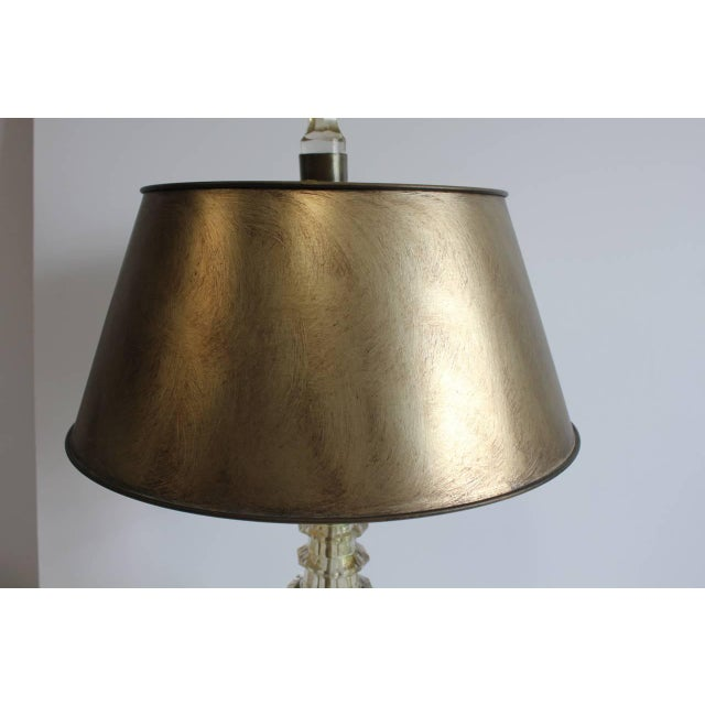 Rustic Late 19th Century Vintage Moser Smoky Champagne Cut-Glass Table Lamp For Sale - Image 3 of 4