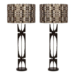 1960s Custom Brutalist Metal Lamps - a Pair For Sale