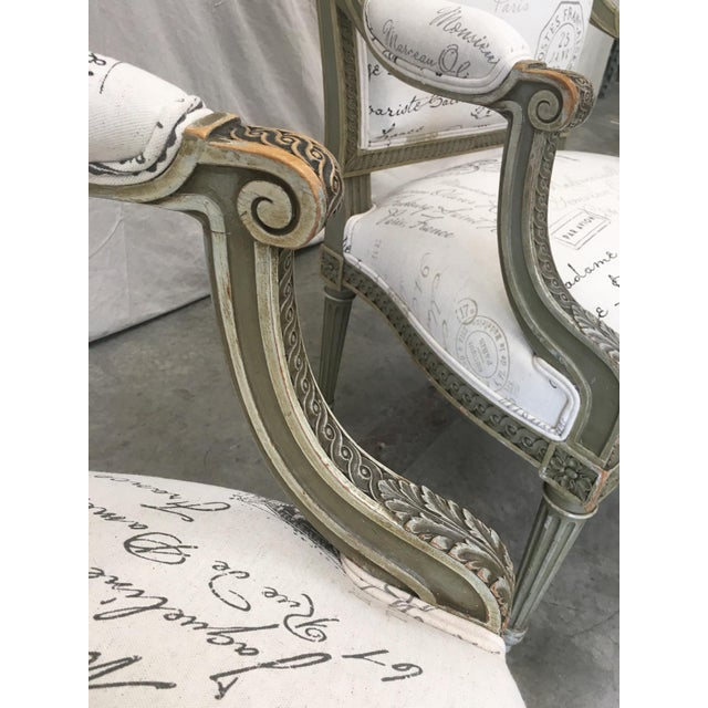 French Antique Painted Armchairs - a Pair For Sale - Image 10 of 13