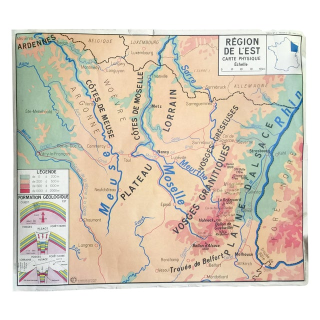 Double-Sided French Vintage School Map - Image 1 of 6