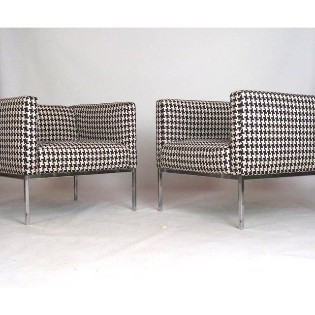 Houndstooth Chrome Club Chairs - A Pair - Image 2 of 6